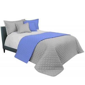 Světle šedý přehoz na manželskou postel