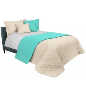 Mentolově béžový přehoz na manželskou postel