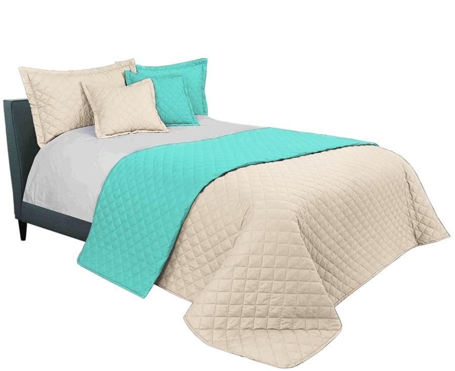 Mentolově béžový přehoz na manželskou postel 220 x 240 cm