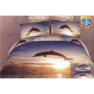 Luxusní povlečení 100% bavlněný satén s delfínem motivem