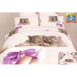 Béžové ložní bavlněné prádlo s malými tygry a fialovou mašlí