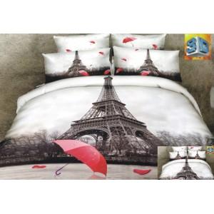 Bílo hnědé ložní povlečení s motivem města Paříž a červeným deštníkem