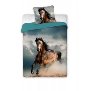 Modré povlečení s cválajícim koněm
