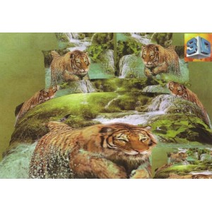 Zelené bavlněné ložní souprava povlečení s motivem tygra