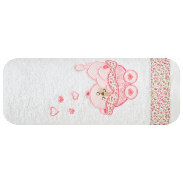 Bílá dětská osuška s růžovým medvídkem