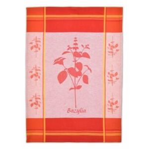 Červené kuchyňské utěrky z bavlny s motivem bazalky