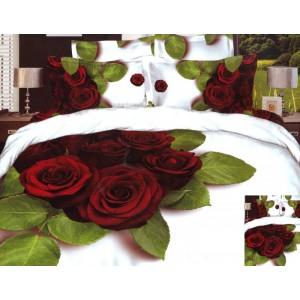 Bavlněné ložní povlečení s motivem červených růží