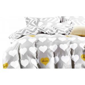 Šedé valentýnské ložní povlečení s bílými srdíčky
