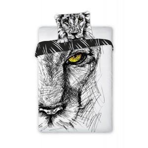 Černo bílé dětské ložní povlečení z bavlny s motivem lva