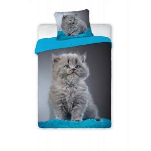 Dívčí bavlněné ložní povlečení s motivem kočky