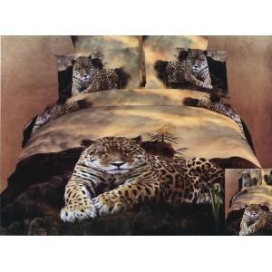 Hnědá ložní souprava povlečení s motivem geparda