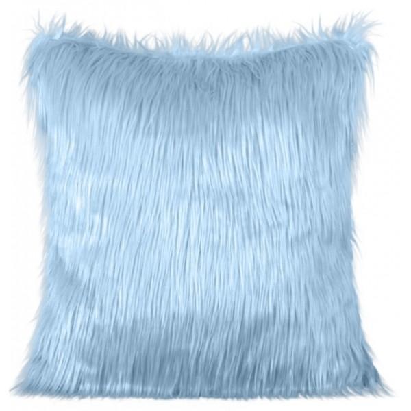 Světle modrý dekorační chlupatý povlak na polštář