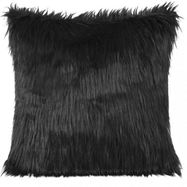 Moderní chlupatý dekorační povlak na polštář černé barvy