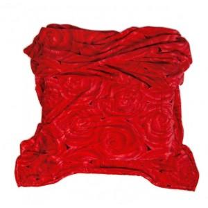 Červená deka z mikrovlákna s motivem růží