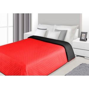 Červeno černé oboustranné přehozy na postel s prošívaným vzorem