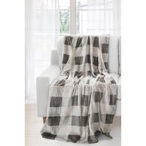Šedě krémová kvalitní deka se čtverci