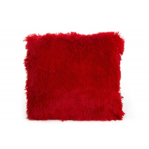 Ozdobné chlupaté povlaky na polštáře červené barvy