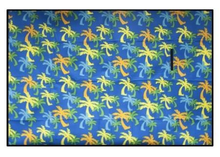 Pikniková deka modré barvy s motivem palmy
