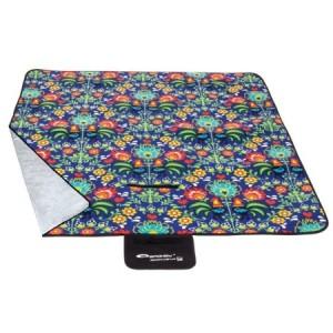 Piknikové deky modré barvy s barevnými květy 130x150