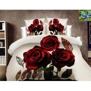 Šedé povlečení s motivem růží