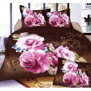 Hnědé 3D ložní povlečení s fialovými květy