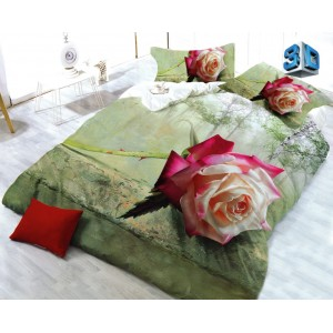 Zelené ložní povlečení s 3D vzorem růže