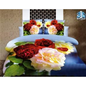 Modré ložní povlečení s 3D květy