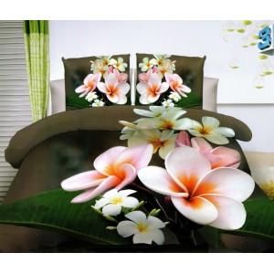 Kvalitní ložní povlečení hnědé barvy s růžovými květy