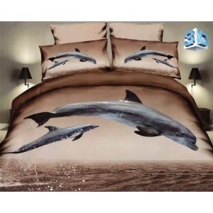 Hnědé povlečení s delfíny
