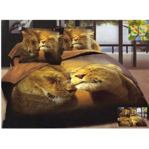Povlečení tmavě hnědé barvy s motivem lvů