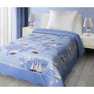 Oboustranný modrý přehoz na postel s loďkami