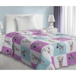 Dětské přehozy patchwork se zebrou ve fialové barvě