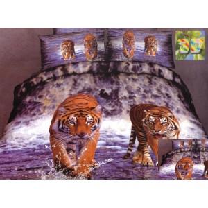 Šedě bílé ložní povlečení s tygry
