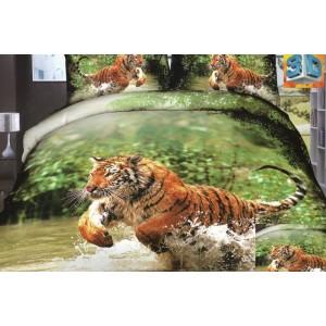 Bavlněné ložní povlečení zelené barvy s hnědým tygrem