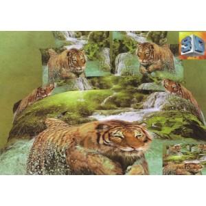Ložní souprava bavlněných povlečení zelené barvy s tygrem