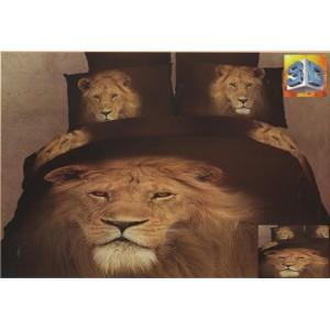 Tmavohnědé ložní povlečení s lvem