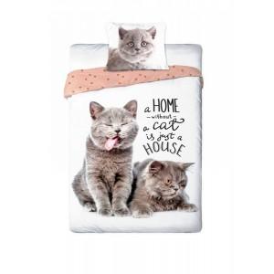 Bavlněné povlečení s kočkama