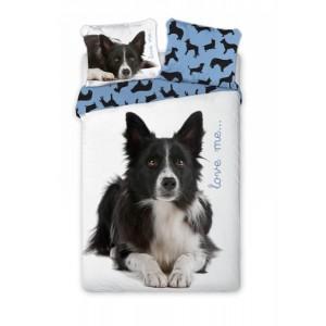 Bavlněné povlečení modré se psem