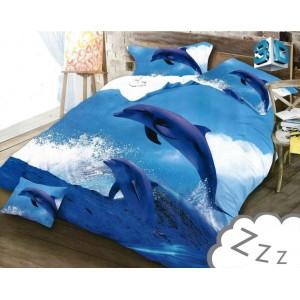 Ložní povlečení modré barvy s delfíny
