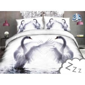 Povlečení na postel bíle barvy s labutěmi