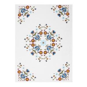Utěrky kuchyňské bílé se vzorem květů