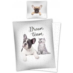 Bavlněné povlečení pro mladé se psem a kočkou