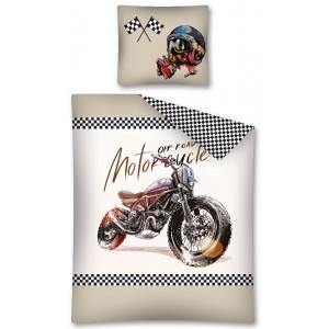 Povlečení na jednolůžko béžové barvy s motorkou
