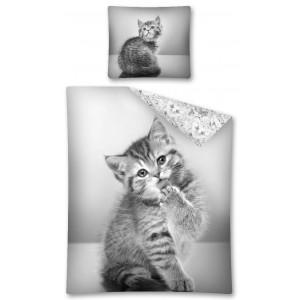 Šedé povlečení s kočkou bavlněné
