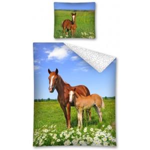 Povlečení s koňmi bavlněné oboustranné