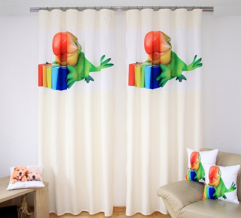 Dětské závěsy se zeleným papouškem