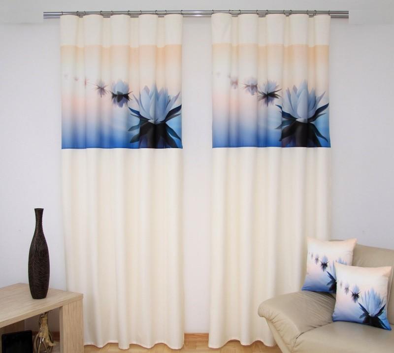 Stylové závěsy a záclony krémově modré barvy s lekníny