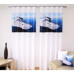 Bílo modré stylové záclony s motivem lodě