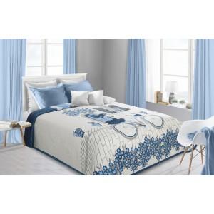 Přehoz na postel modrý oboustranný