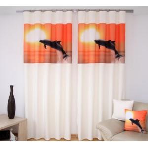 Krémová záclona za výhodnou cenu s oranžovou potiskem delfína